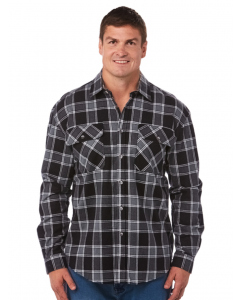 Lowes Unisex Black Check Flannelette Shirt