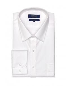 Manhattan Waffle White Long Sleeve Business Shirt