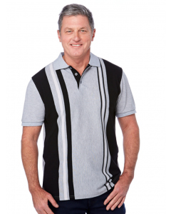 Cougars Black Grey White Vertical Stripe Knit Polo | Cougars | Tops | Lowes