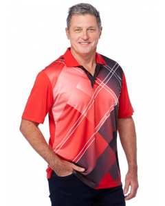Cougars Red Black Quik-Dry Sublimated Print Polo | Cougars | Tops | Lowes